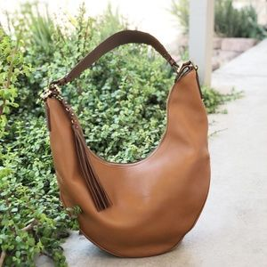 Aquatalia Leather Tassle Embossed Handle Hobo Bag
